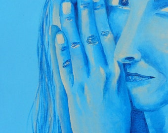 Artistic portrait - picture of a woman with her hands - blue decoration
