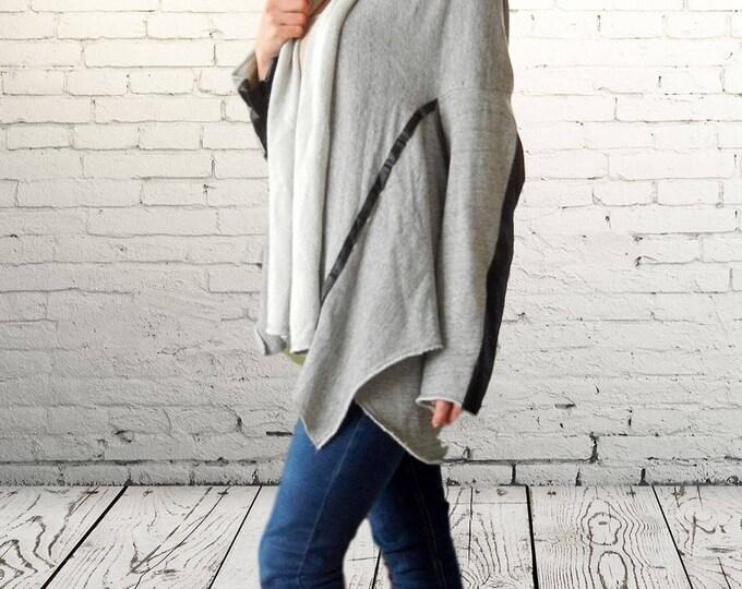 Alternative Flattering Loose Gray Cardigan, Oversized Asymmetric Leather Cardigan, Elegant Maxi Gray Cardigan, Sexy Elegant Cardigan