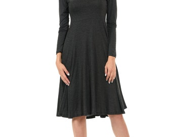 Long Sleeve Fit and Flare Midi Dress Charcoal