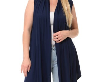 Asymmetric Open Front Vest Plus Size Navy