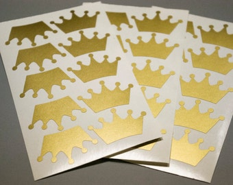 30 crown stickers, envelope stickers, birthday Envelope Seals, gift wrapping, princess Stickers, adhesive labels, baby girl invitation decor