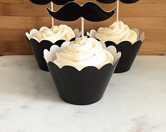 Moustache Movember Cupcake Wrappers and Toppers, Decorating Kit (12)