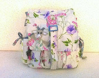 """Backpack"" making goat "","" Shabby chic and spring ""cotton and leatherette."