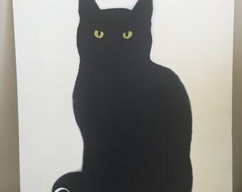 Black Cat Chalkboard/Glow-In-The-Dark-Original Spray Paint Art
