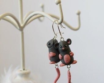 Cute grey mice earrings, polymer clay, hand sculpted, nickel free, unique dangle earrings with attitude, rodent jewelry, statement earrings