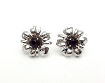 Bond Boy Sterling Silver Flower with Purple Rhinestones Screw Back Earrings Retro Vintage Gemstone Classic Special Event Anniversary Gift