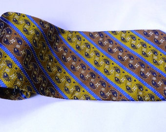 Vintage T.C. Dubson Handmade in Italy 100% Silk Men's neck tie Brown and gold