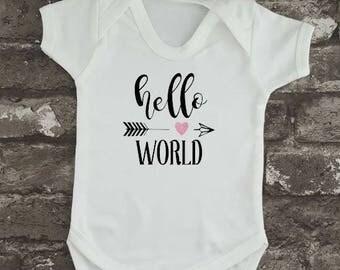 Hello World Bodysuit, Newborn Baby Vest, Baby Shower Gift, New Mom, New Dad, Birthday Gift, Cute Baby Grow, Baby Present, Welcome Baby