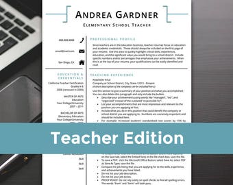 Best Professional Resume Excel Resume Cover Letter  Etsy Free Printable Resume Builder Word with Management Consulting Resume Sample Pdf Teacher Resume  Teacher Resume Template Word Teacher Resume Cover Letter  Teaching Resume Objective For Accounting Resume
