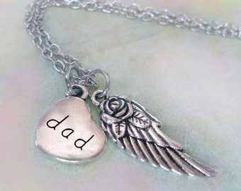 Dad Memorial Necklace, Engraved Dad Heart & Angel Wing, Grief Gift, Forever in My Heart, Protected by Angels, Bereavement Gift, Dad Loss