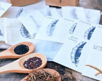 8 heirloom organic seed varieties / Organic Seed Kit Gift Set / Gardeners Gift /Seed Gift / Basil / Bok Choy /Dill / Chives/ cosmos / tatsoi