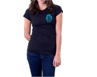 Circle Monogram Tee, Monogrammed Tee, Gift for ladies, Ladies Tee, Bridemaids Tee, Tee for all seasons