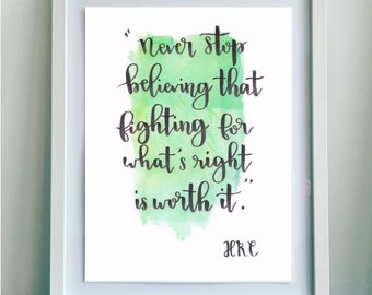 Hillary Clinton Quote, Handmade Poster with Colorful Background, Home Decor Wall Decor, Never Stop Believing
