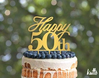 50th Birthday Cake Topper, 50th Anniversary Cake Topper - 50th Birthday Cake Topper - Happy 50th Cake Topper - Silver Cake Topper
