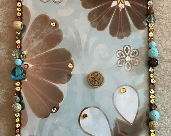 Brown/blue floral wall art