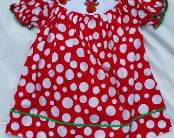 Reindeer smocked bishop dress