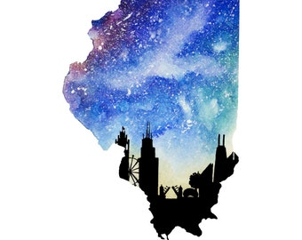 "Illinois Galaxy in Watercolor- 9"" x 12"" Print"