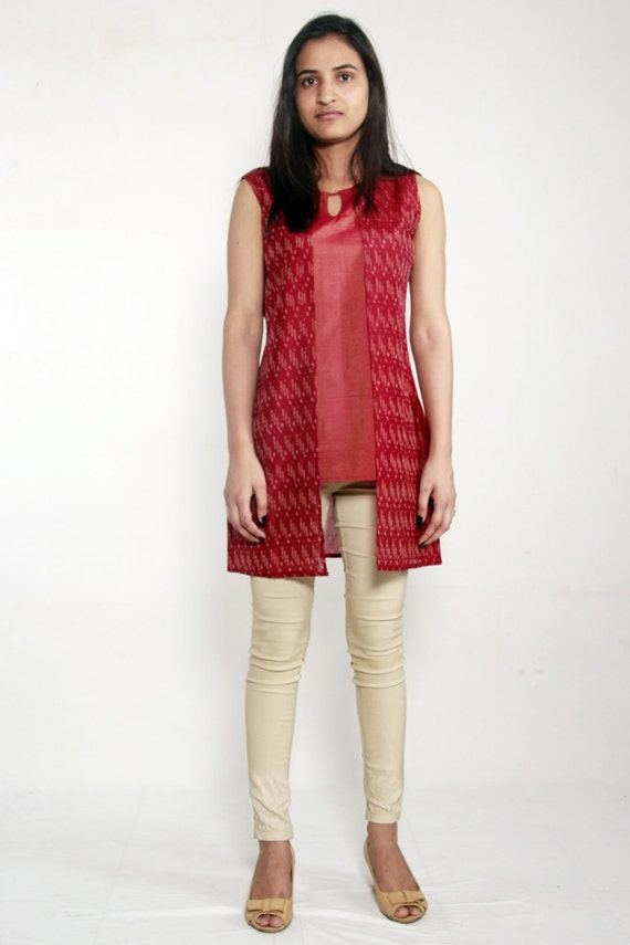 Panelled and Layered Ikat Top with Layer