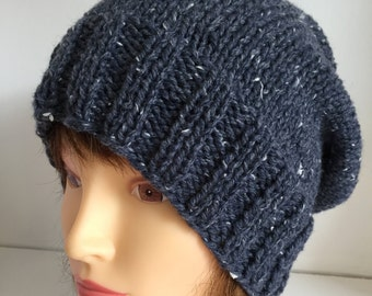 Unisex Hats, Knitted Hats, Slouchy Beanie Hat, Airforce Blue Hat, Wool Beanie, Wool Gifts for Men, Womens Gift Hat, Casual Winter Gifts