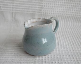 Speckled Blue and Shiny White Jug