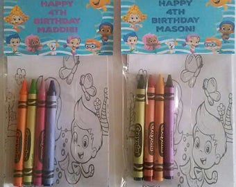 12 Sets of Personalized Bubble Guppies Birthday Party Favors Coloring Pages and Crayon Sets
