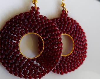 Red/Garnet and Gold Beaded Dangle Hoop Earrings. Seed bead earrings