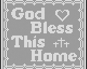 PDF Pattern God Bless This Home Filet Doily, Christian Theme, Crochet, 10 Thread, 7 steel hook, doily, Gift for crocheter, Housewarming gift