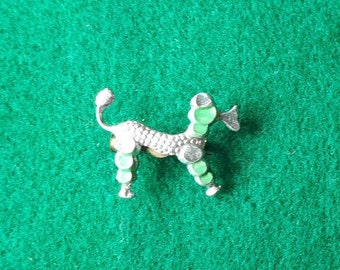 Vintage Silver and Green Poodle Brooch