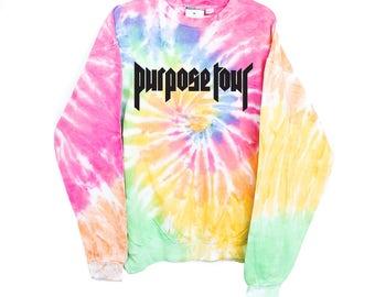 Tie-dye tiedye Yeezus Kanye West Bieber Belieber Purpose Tour Staff Justin Bieber Gucci Champion sweatshirt hoodie Purpose Tour Merchandise