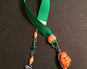 Orange | and | Green | Ribbon | The Lord is my Rock | Bookmark | Planner Accessories | Happy Planner | Travelers Notebook