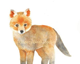 Baby Fox Print, Watercolour Fox, Woodland Animal, Woodland Fox, Fox Illustration, Cute Baby Fox, Nursery Animal, Nursery Fox