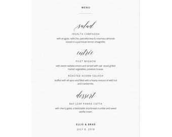 Printable Menu Template, Minimalist Calligraphy Menu, Editable Menu, PDF Instant Download, Wedding Menu, Rehearsal Dinner Menu #SS002_6
