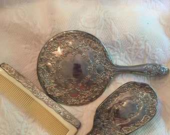 antique  vintage  silver  vanityset  lady hair brush  mirror