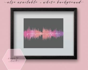 My Sunshine Nursery Sound Wave Art Digital File - Water Colour Print for baby nursery, kids room or home