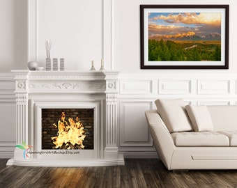 Framed Photo Art Mockup Template Styled Stock Photography Living Room With Fireplace