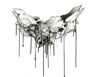 Melding Elk Skulls - Giclée Art Print - Sumi Ink Painting - Black and White - Unframed Print
