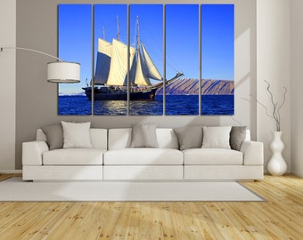 Large Wall Sailboat Canvas Ocean Multipanel Canvas Sailboat & Mountain  Art Large Sailboat 1-3-4-5 Panels Set Ocean Print
