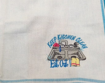 Keep Kitchen Clean embroidered flour sack dish towel