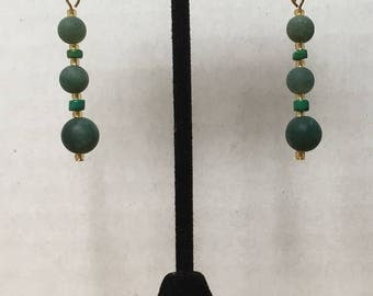 Moss Agate and Green Turquoise Earrings