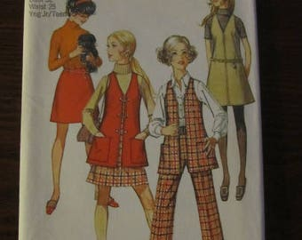 Vintage 1960s Simplicity Pattern #8360 Size 11/12 Bust 32 Waist 25 Jumper, Vest Skirt and Pants