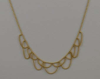 """14k Yellow Gold Ball Beaded Drop/Dangle Chain/Necklace 16"""""""
