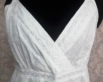Boho Beach Wedding Dress, White Cotton Boho Dress, Hippie Wedding dress, Simple Wedding dress, Casual Wedding Dress