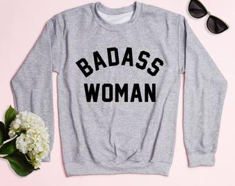 Free Shipping! Badass Woman Crewneck Sweatshirt, Workout Sweatshirt, Women's Sweatshirt, Funny Sweatshirt, Gym Sweatshirt