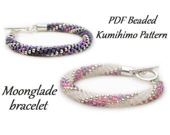 PDF Beaded Kumihimo Pattern - Moonglade Kumihimo bracelet – bead layout instruction