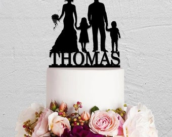 Wedding Cake Topper,Family Cake Topper,Custom Cake Topper,Children Cake Topper,Bride and Groom Cake Topper,Cake Topper With 2 Children