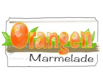 Marmelade Etikett, Orangen Marmelade