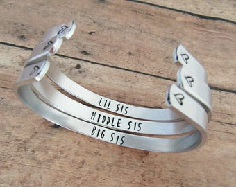 Matching Sister Bracelets - Gift For Sisters - Hand Stamped Jewelry - Three Sisters - Little Middle Big Sis
