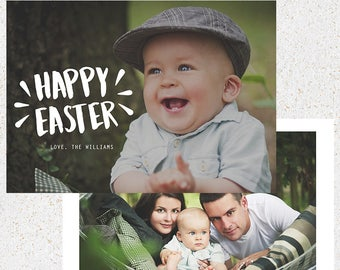 INSTANT DOWNLOAD--5x7 Easter Greeting Card--Photoshop Template--e104