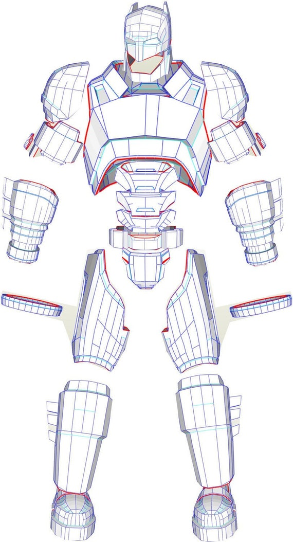 Eva foam batman wearable mech armor suit pdf pdo templates for Iron man foam armor templates
