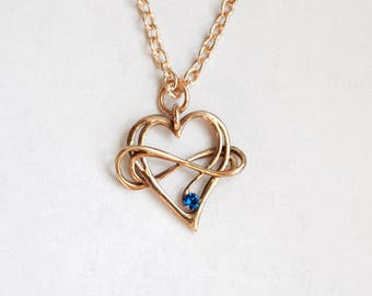 Polyamory pendant from вronze with Swarovski crystal. Heart and infinity. Infinity love. Endless love.